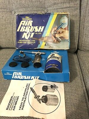 Badger Air Brush Kitb #200 Retro Vintage Spray Gun Model Kit Retro