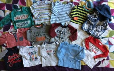 Boys Long Sleeved Tops Bundle 0-3 Months Next M&CO F&F Etc