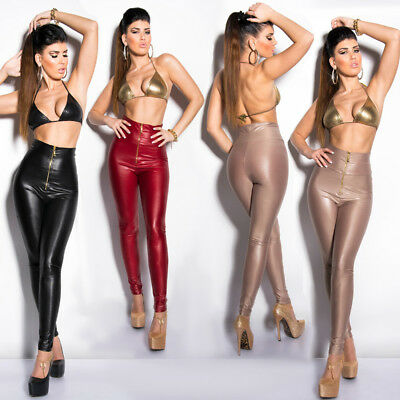 Leather Look Leggings High Waist Wet Look Trousers Pants With Front Zip KouCla