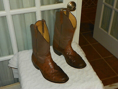 Rios Of Mercedes Chocolate Quill Ostrich Roper Cowboy Boots Men S Size 8 5 D