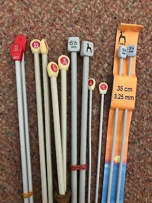 Job Lot 6 X Pairs Knitting Needles 6.5 Mm 6 Mm 5.5 Mm 5 Mm 3.25 Mm 3 Mm