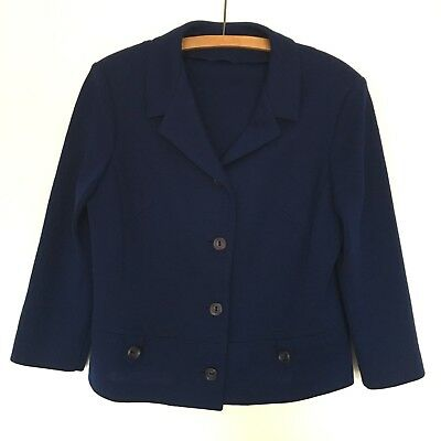Womens Vintage 1960's Pure Wool Navy Mod Jacket Size 12