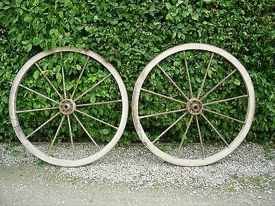 Pair of Genuine  Large Antique Wood and Iron Cart Wheels Garden Feature  (993)