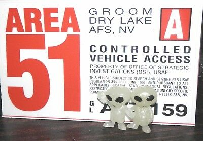 """Area 51 Vehicle Pass Decal 5 x 3.2"""" Area 51 Vehicle Pass and 2 Free small aliens"""