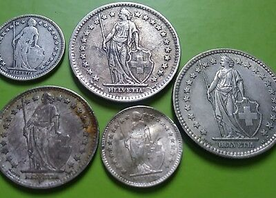 Mixed Lot of 5 Switzerland Franc Silver Coins