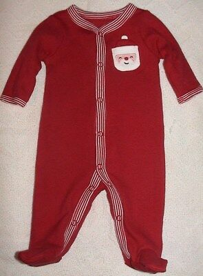 Carter's Red & White Footed Sleeper With Santa Pocket-Size 3 Months-Nwt