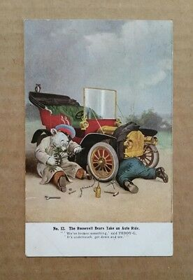 The Roosevelt Bears Take an Auto Ride,Postcard,1900's