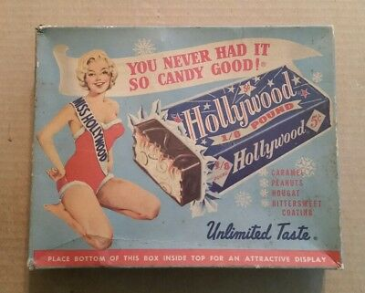 Hollywood 1/8 Pound Candy Bar,Hollywood Brands,Centralia,Ill.,Display Box,1950's