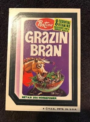 Vintage Topps 1970's Wacky Packages Sticker - Grazin Bran - 4th Edition