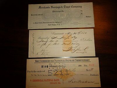 3 Bank Checks Lot  -  Shreveport  -  Cincinnati  -  Specimen