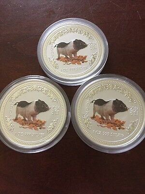 (3) 2007 Australia Lunar Year Of The Pig 1oz  Colored Silver Coins