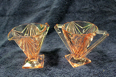 Indiana Depression Glass Creamer and Sugar Pyramid Pink Art Deco