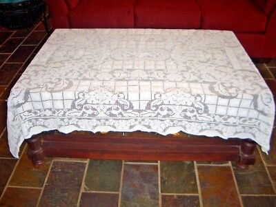 """Hand Crochet Off White light weight Tablecloth 68"""" x 48"""" Rectangle"""