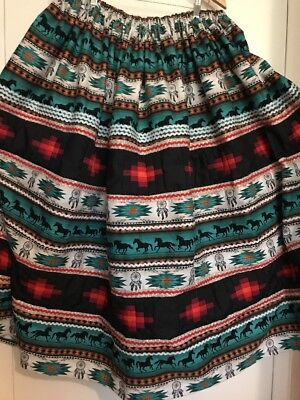 """Seminole Patchwork 38""""Long Skirt 6 Yards Patchwork With Bling~Beautiful"""