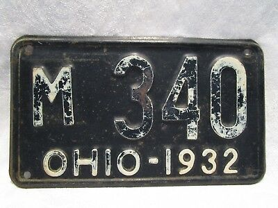 "Antique Shorty Ohio 1932 License Plate - Low Number, M   340 - 10"" X 5 13/16"""