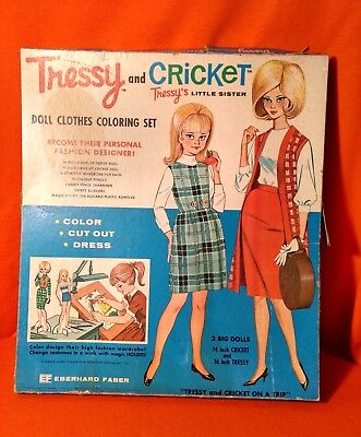 Eberhard Faber Tressy N Cricket Coloring Paper Doll Set Tressy Cricket On A Trip