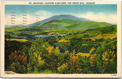 View of Mt. Ascutney, Green Mountains, Vermont c1947 Vintage Postcard H09