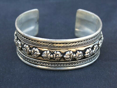 Huge Tibetan Multi-Weaving Carved 10 Big Double Dorje Amulet Cuff Bracelet