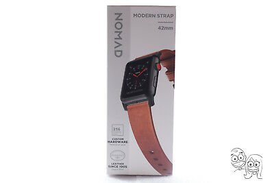 Nomad - Leather Watch Strap for Apple Watch 42mm 1, 2, 3 - Brown with black lugs