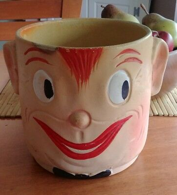Original Smiling Oscar Soldier Face Cookie Jar Ceramic Pottery - see pics