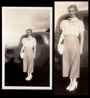 GORGEOUS FLOATING BLOND WOMAN in HEELS w MERCURIAL CAR ~ 1930s VINTAGE PHOTO