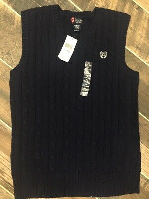 New With Tags Chaps Boys Size XL 18-20 Cable Knit Sweater Vest Navy