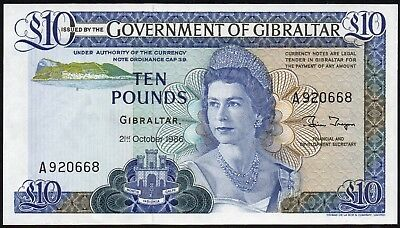 Gibraltar £10 Pounds 1986 (P-22b)