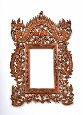 1930's Chinese Export Sandalwood Wood Carved Carving Photo Frame Dragon Bird