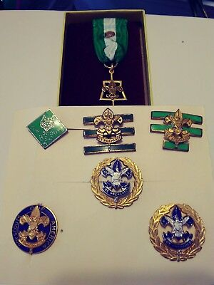 Boy Scout Service Pins. Key. Three Green Bars. Vintage.