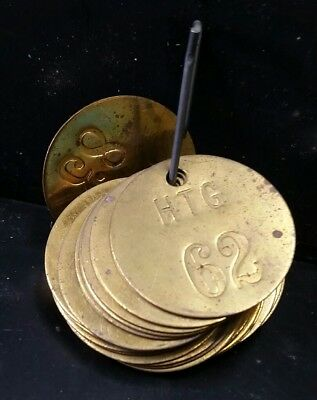 Lot of 22 Vintage Brass Cow Tags Used Condition Numbers 62-83 LOOK