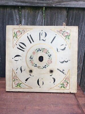 Antique American Wooden Works Shelf Clock Floral Dial.