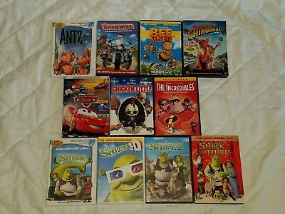 Lot Of 11 Animated Children's DVDs Antz Shrek Incredibles Cars Bee Movie