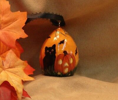 Hand Painted Halloween Gourd Ornament Glitter Black Cat Bats Jack O' Lanterns