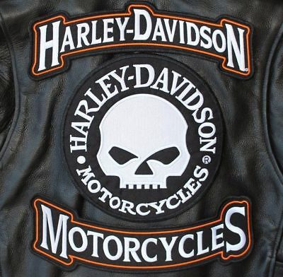 Harley 12 Inch Top Bottom Rocker With 9 Inch Willie G. Skull 3Pc Back Patch