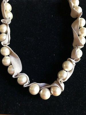 J Crew Champagne Large Beige Faux Pearl Woven Ribbon Strand Necklace