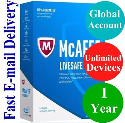 McAfee LiveSafe UNLIMITED DEVICE / 1 YEAR (Account Subscription) 2019