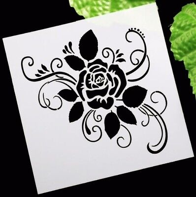 AU Stock Chic Rose Flower Layering Stencil Template DIY Scrapbooking Home Decor