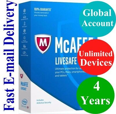McAfee LiveSafe UNLIMITED DEVICE / 4 YEAR (Account Subscription) 2019