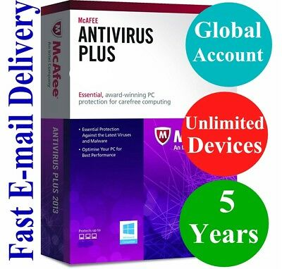 McAfee Antivirus Plus UNLIMITED DEVICE 5 YEAR (Account Subscription) 2019