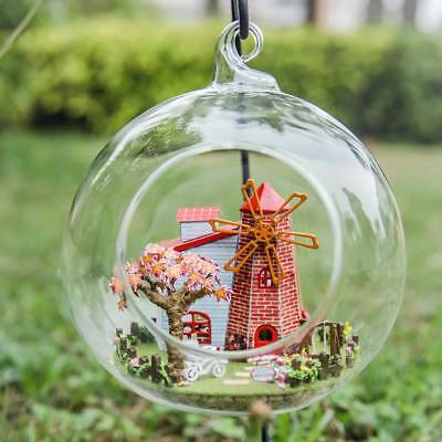 DIY Mini Glass Dollhouse Ball Miniature Cabin Fan Tower Doll House Kit Ornaments