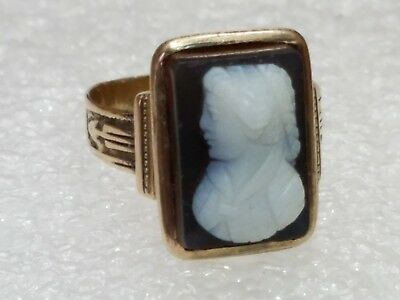 """VINTAGE ANTIQUE   """"Early""""  VICTORIAN 10K ROSE GOLD HARD STONE CAMEO RING 4.2gm"""