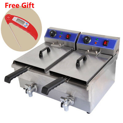 20L Commercial Electric Deep Fryer Double Basket w/ Oil Tap Stainless Steel 220V