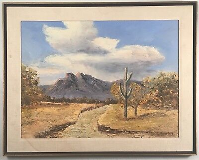 Stunning plein air Arizona desert landscape painting. Signed Ed Roth, dated 1965