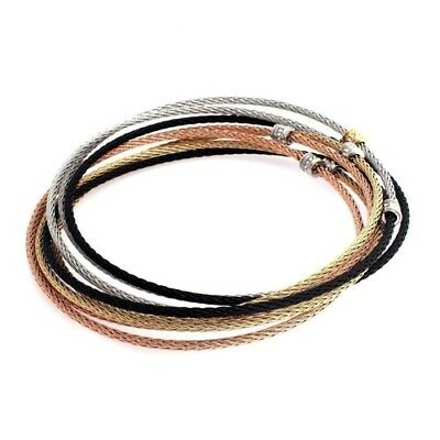 QVC Stainless Steel Multi-Cable Tri-Color Crystal Rolling Large Bracelet $92