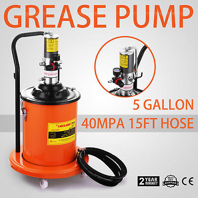 Grease Pump Air Operated High-Pressure With 15FT Hose Gun Rigid Tool Pail