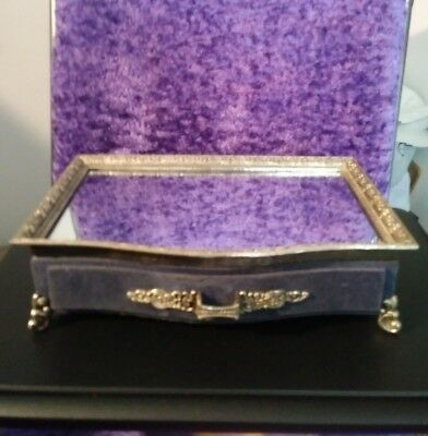 Vintage Silver Embossed Vanity Mirror Jewelry tray with drawer