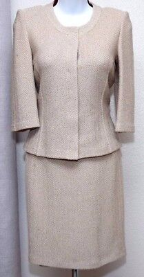 ST.JOHN Collection by Marie Gray Womens Knit Beige Jacket & Skirt Sz 4-6