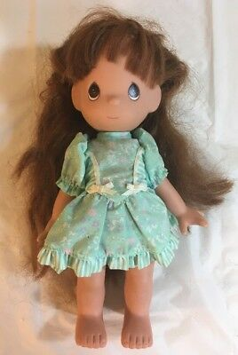 """Precious Moments Doll 10"""" Posable Brown Hair Brown Eyes Dress vintage 1992"""