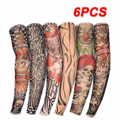 High Quality Lot 6 Pcs Temporary Fake Slip On Tattoo Arm Sleeves Kit Stockings