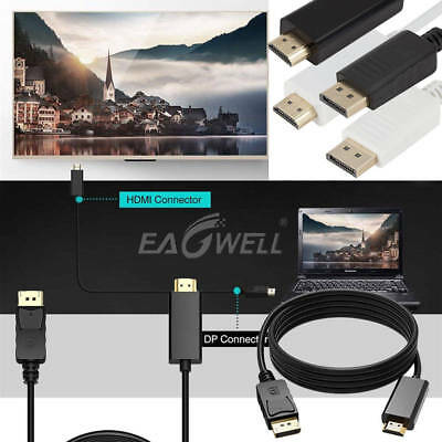 Gold Plated DisplayPort DP to HDMI PC Laptop HDTV Audio Video Cable 1080P 5.90ft